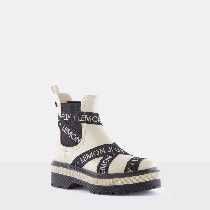 Lemon Jelly Platform White Low Boots with Straps FRANCESCA 04