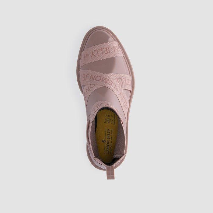 Lemon Jelly Platform Pink Low Boots with Straps FRANCESCA 07