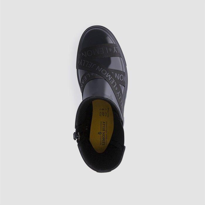 Lemon Jelly Super Light Black Mid Calf Boots w/ Straps BOHÈME 01