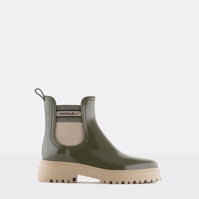 Lemon Jelly Woman's Super Light Military Green Rain Boots FLOW 02