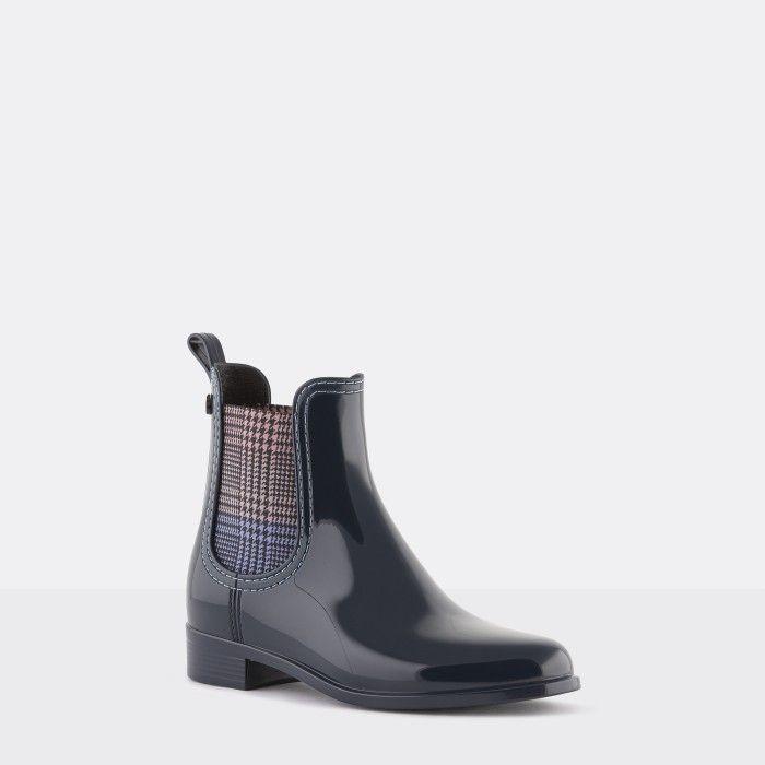 Lemon Jelly Vegan Blue Ankle Boots w/ Tartan Elastic BETH 02